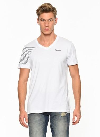 Hummel V Yaka Tişört Beyaz